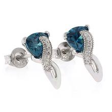 Elegantes Aretes de Alejandrita ( Azul/Verde ) en Plata .925