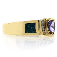 Australian Opal with Tanzanite Ring in 14k Solid Yellow Gold