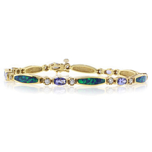 Genuine Australian Opal and Tanzanite 14k Yellow Gold Bracelet