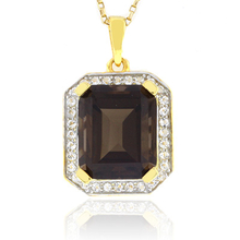 Big Emerald Cut Smoked Topaz Gold Plated Pendant