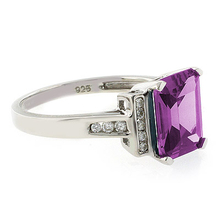 Emerald Cut Blue to Pink Color Changing .925 Silver Ring