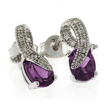 Color Change Alexandrite Post Back Silver Earrings Pink to Purple