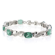 Oval Cut Green to Blue Alexandrite .925 Sterling Silver Bracelet
