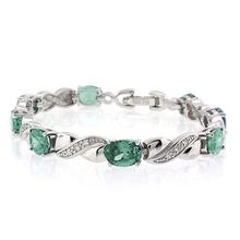Oval Cut Green to Blue Alexandrite .925 Sterling Silver Bracelet