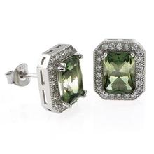 Emerald Cut Tourmaline Watermelon Silver Earrings