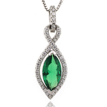 Marquise Cut Emerald Sterling Silver Pendant