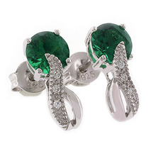 Round Cut Emerald Stone Fashion Silver Earrings