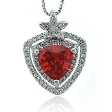 Mexican Fire Cherry Opal Trillion Cut Stone Flower Pendant