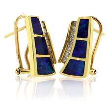 Genuine Australian Opal 14K Gold and Diamond Earrings