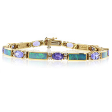 Authentic Australian Opal and Tanzanite 14k Yellow Gold Bracelet
