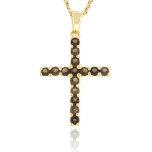 Genuine Smoked Topaz Gold Plated Cross Pendant