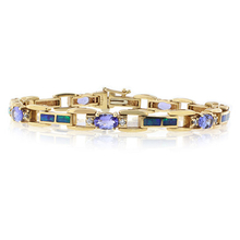 Natural Australian Opal and Tanzanite 14k Yellow Solid Gold Bracelet