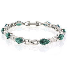 Marquise Cut Alexandrite Stones .925 Sterling Silver Bracelet Bluish to Green