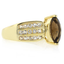 Smoked Topaz Marquise Cut Stone Gold Plated Silver Ring
