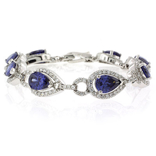 Pear Cut Tanzanite .925 Sterling Silver Bracelet