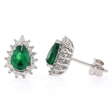 Pear Cut Emerald Framed Silver Earrings