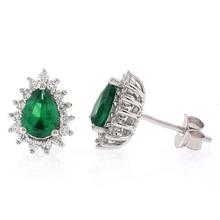 Pear Cut Emerald Framed Silver Earrings