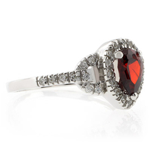 Pear Cut Red Garnet .925 Sterling Silver Ring