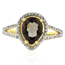 Pear Cut Genuine Smoked Topaz Gold Plated Silver Ring