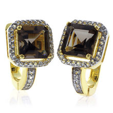 Square Cut Smoked Topaz Silver Gold Plated Earrings