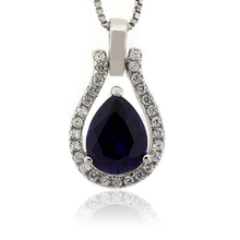 Blue Sapphire Sterling Silver Charm Pendant