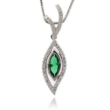 Marquise Cut Emerald Sterling Silver Fashion Pendant