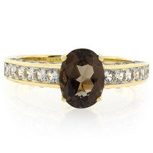Solitaire Smoked Topaz Gold Plated Silver Ring