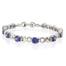 Round Cut Tanzanite .925 Sterling Silver Bracelet