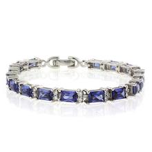 Emerald Cut Tanzanite Stones .925 Sterling Silver Bracelet