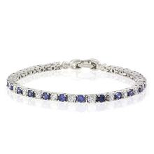Round Cut Tanzanite Stones and Diamonds .925 Sterling Silver Bracelet