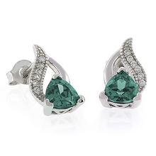 Trillion Cut Alexandrite Post Back .925 Silver Earrings Blue to Green