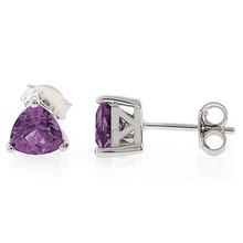 Alexandrite Trillion Cut Stone Stud Earrings Blue to Purple