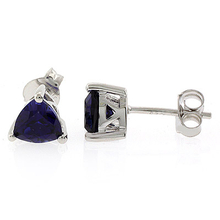 Trillion Cut Blue Sapphire Stud Earrings in .925 Silver