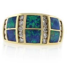 Australian Opal Diamond Ring in 14k Yellow Solid Gold