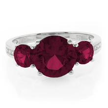 3 Stone Round Cut Red Ruby Silver Ring
