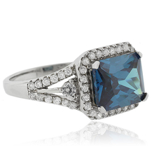 MicroPave Cushion Cut Alexandrite .925 Silver Ring