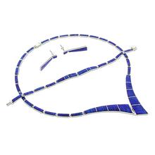 Precioso Juego de Ópalo Azul con Collar, Pulsera y Aretes en Plata .950