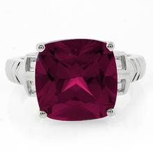 Cushion Cut Red Ruby .925 Silver Ring