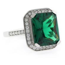 Emerald Cut Emerald MicroPave Silver Ring