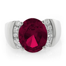 Big Oval Cut Ruby .925 Sterling Silver Ring