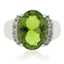 Huge Oval Cut Peridot Silver Ring