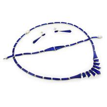 Hermoso Juego de Ópalo Azul con Aretes, Collar y Pulsera en Plata .950