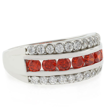 Channel Setting Cherry Opal Silver Ring