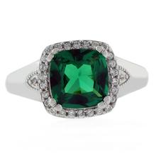 Cushion Cut Emerald Silver Brilliant Ring