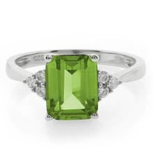 Elegant Emerald Cut Peridot .925 Silver Ring