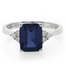 Emerald Cut Blue Sapphire .925 Silver Ring