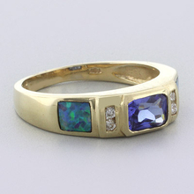 Blue Opal with Tanzanite Ring in 14k Solid Yellow Gold