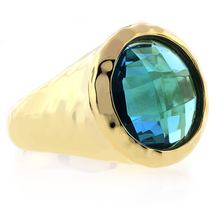 Gold Plated Sterling Silver Hammered Blue Topaz Ring
