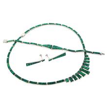Juego de Aretes, Collar y Pulsera de Ópalo Verde en Plata de la Mejor Calidad .950