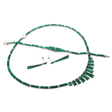 Necklace, Bracelet and Earrings Green Opal Silver Set